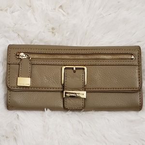 MICHAEL KORS Taupe Soft Buttery Leather Wallet